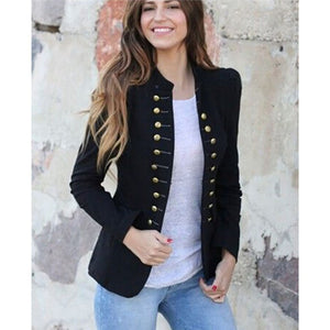 Spring Short Slim Fitted Plain Military Style Jacket Vintage Open Front Coat Band Collar Top Outwear With Pockets Lady
