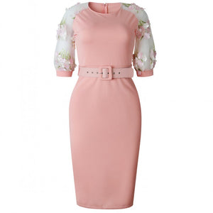 Spring Summer Mesh Floral Emboidery Office Work Pencil Dresses Half Sleeve ONeck Belt Knee Length Bodycon Midi Dress