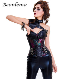 Steampunk Gothic Overbust Corset Malevolent Maelstrom Corset Pu Leather Chain Gothic Waist Corselet Corsage Korsett 2 Pcs Set