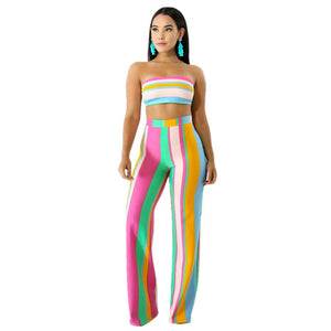 Striped 2 Piece Set Women Pant Top Strapless Crop Top Women Pants Set Party Club Sexy Two Piece Summer Outfits Matching Set