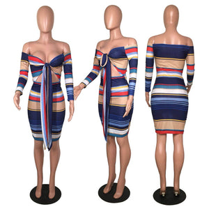 Striped Print Bodycon Dress Women Long Sleeve Strapless Hollow Out Autumn Dresses Bandage Off Shoulder Party Vestidos