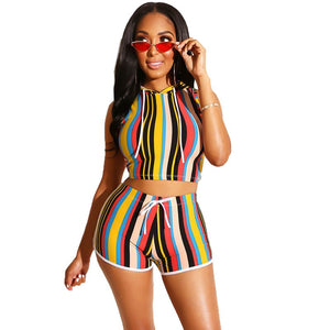 Striped Women Short Two Piece Set Top Shorts Set Summer Sport Suit Bodycon Hooded Casual 2 Piece Tracksuit Women Set Outfit