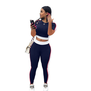 Summer 2 Piece Set Tracksuit Women Sportswear Short Sleeve Crop Top T Shirt Pant Sets Sweat Suit Casual Two Piece Set Outfit