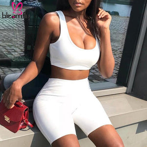 Summer Crop Top Shorts Set White Tracksuit Woman 2 Piece Outfits Bodycon Biker Shorts Sweat Suits Cloth