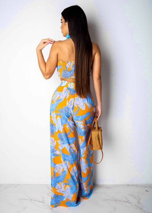 Summer Clothes Two Piece V-Neck Jumpsuit Floral Printed Crop Top +Wide Leg Trousers 2 Piece Set Women Short Sleeve