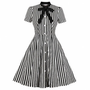 Summer Cotton Striped Print Midi Dress Casual Cute Women Short Sleeves Bowknot Shirt Dresses Evening Party Office Swing Vestidos