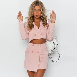 Summer Pink Women Skirt Suit 2019 Work ON Button Pocket Ladies Two Piece Set Solid Blazer Skirt Short Blazer 2019