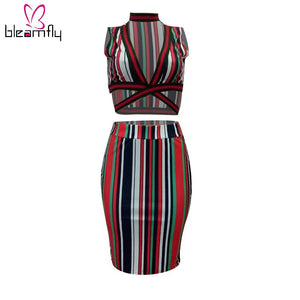 Summer Print Striped Two Piece Sets Women Beach VNeck Crop Top+Bodycon Skirt Tracksuits 2 Piece Outfits