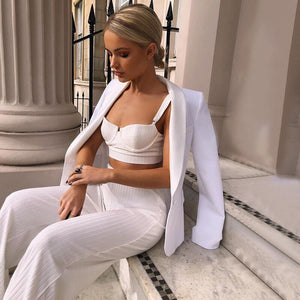 Summer Sexy Knitted Rib 2 Piece Set Women Camisole Crop Top Wide Leg Pants Set Streetwear Matching Outfits Tracksuit