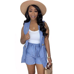 Summer Two Piece Set Top Shorts Matching Sets Trendy Striped Blazer Office Suit Set Women Casual 2 Piece Outfits