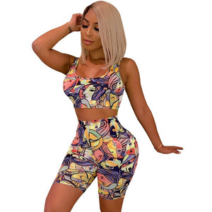 Summer Two Piece Set Women Print Tank Crop Top Bodycon Biker Shorts Sweat Suit Sexy Club Matching 2 Piece Set Tracksuit Casual