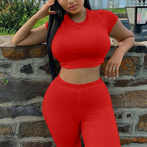Summer Two Piece Short Set Tracksuit Suits Crop Top Shorts Set Fitness Sport Suit Women Casual 2 Piece Set Outfits