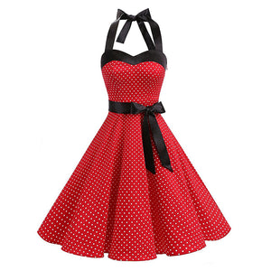 Summer Vintage Retro Small Dot Solid Rockabilly Halter Pinup Large Swing Backless Strap Halter Dress Sleeveless Vestido De Festa