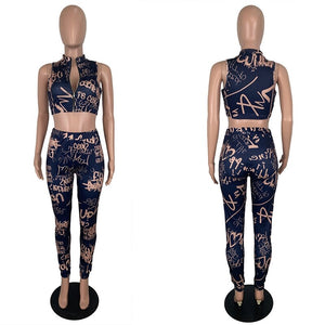Summer Women Set Tracksuit Casual Print Zipper Crop Top Pants Set Suits Party Two Piece Matching Set Sexy 2 Piece Club Outfits