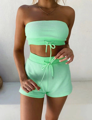 Summer Women Two-piece Outfits Sexy Solid Color Drawstring Wrapped Chest Short Crop Top Shorts Sport Active Outwear Beachwear