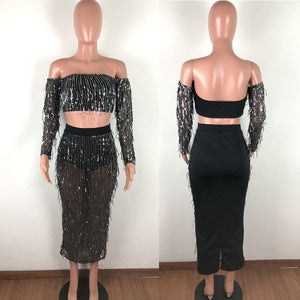 Tassel Sequin 2 Piece Set Women Festival Clothing Bodycon Two Piece Set Crop Top Long Skirt Suit Club Outfits Sexy Woman Set