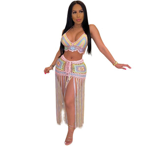 Tassel Sexy Beach Crochet Two Piece Skirt Set Summer 2 Piece Knit Outfits Clothing Sets 2020