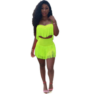 Tassel Sexy Summer Festival Two Piece Set Women Clothing Crop Top Mini Skirt Set Suit Club 2 Piece Matching Women Sets Outfits