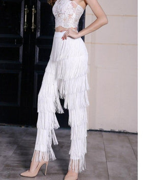 Tassels High Waist Tights Zip Tassel Fashion Versatile Black White Fringed Pants Zipper Summer Autumn Wild
