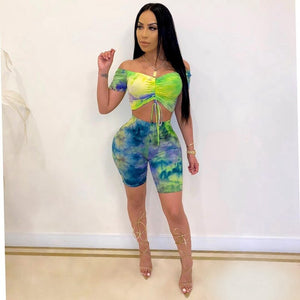 Tie Dye 2 Piece Set Women Off The Shoulder Crop Top Shorts Set Summer Outfits Sexy Two Piece Outfits Matching Sets