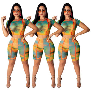 Tie Dye Print 2 Piece Outfits Two Piece Set Crop Top Shorts Set Sheer Mesh Sexy Club 2 Piece Summer Set Tracksuit