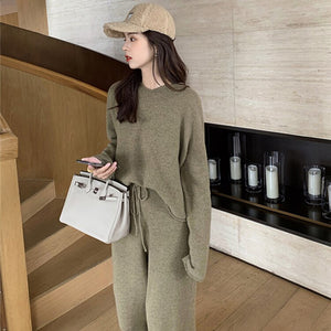 Tracksuit Women 2 Two Piece Set Outfits Sweatsuit Pullover Hooded Wool Lace Up Matching Sets Winter Trousers Suit Loose V960