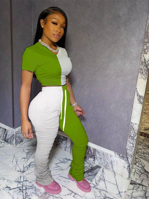 Trendy Sexy Two Piece Set Women Summer Crop Top Bodycon Stacked Pants Matching Sets Plus Size 2 Piece Set Women Tracksuit