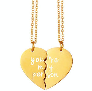 Two Halves Heart Necklace Pendant Love Couple Jewelry Lovers Women Bff Silver Gold Color Greys Anatomy