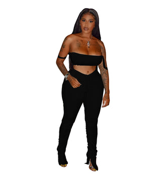 Two Piece Set Summer Jumpsuit Women Rompers Sexy Strapless Crop Top Flare Pants Fashion Casual Outfits Overalls