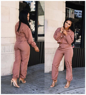 Two Piece Set Tracksuit Women Sportwear Drawstring Crop Top Sweatshirt Ankle Length Pants Jogging Femme Casual Sport Suit