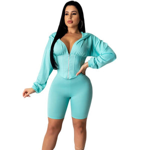 Two Piece Short Set Clothes Long Sleeve Crop Top Biker Shorts Set Suit Summer Casual 2 Piece Set Tracksuit Outfits