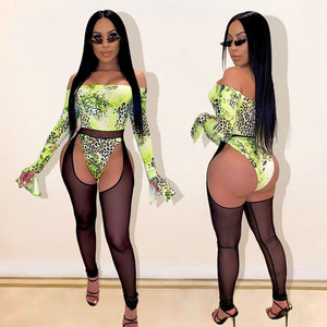Two Piece Summer Set Women Club Outfits Beach Bodysuit Top Mesh Pants Set Suit Hollow Out Party Sexy 2 Piece Matching Set