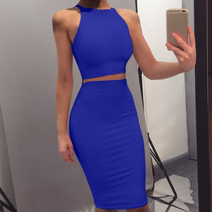 Two Pieces Set Skirts Set Summer Solid Bandage Crop Tops Midi Skirts High Waist Pencil Skirt Women Sets
