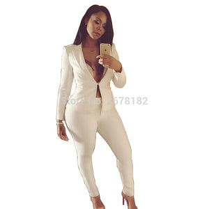 Two Piece Pant Suits Spring Summer Long Sleeve Casual Jacket+Long Trouser 2 Piece Set White Blue Black Outfit