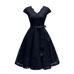 VNeck Lace KneeLength Women'S Dresses With Short Sleeves Dress Dress Vestidos Chic