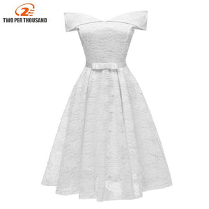 Vintage White Floral Lace Women Midi Dress Evening Party Robe Ladies Dresses A Line Bow Dress Vestido De Festa