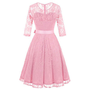 Vintage Floral Lace Pleated Dress Women 34 Sleeve ONeck Party Dresses Retro 50S Spring Robe Big Swing Vestidos