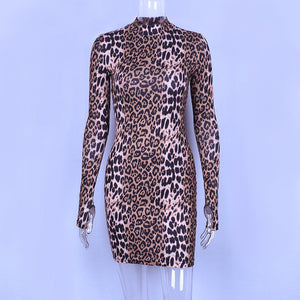 Vintage Leopard Printed Bodycon Dress Women Long Sleeve O Neck Pencil Dresses Club Party Mini Vedtidos Robe Femme