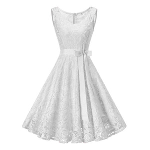 Vintage White Floral Lace Tunic Dress Women Sleeveless VNeck Party Dresses Retro 50S Summer Robe Big Swing Dress