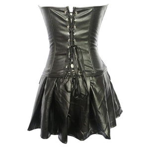 Black Leather Corset With Skirt Gothic Faux Overbust Corselet Corset Lingerie Plus Size Corsets Bustier
