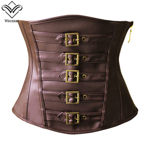Brown Black Short Top Bustier Ladies Fashion Leather Underbust Corset Slim Wasit Shapewear Gothic Goth Style Punk Tops