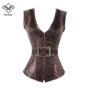 Brown Steampunk Corset Gothic Clothing Jacquard Pu Leather Steel Boned Zip Buckle Corsets Bustiers