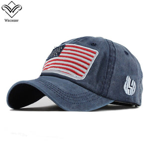 Wechery Caps Women Menbaseball Cap Adjustable American Flag Pattern Embroidery Caps Fashion Style Cotton Adult Hat
