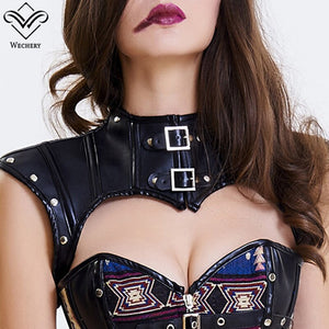Cut Out Shapewear Short Gothic Shoulder Tops Women'S Steampunk Lace Up Accessories Leather Rivets Corsets Top