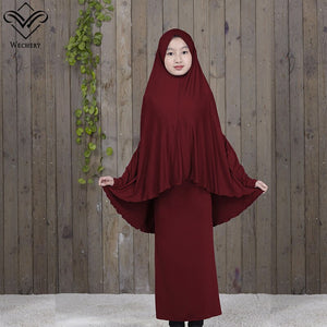 Hijabs Dress Muslim Costume Pink Purple Red Blue Brown Arab Middle East One Piece Abaya With Head Scarf