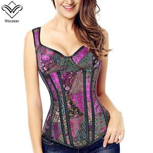 Lace Up Corset Floral Plus Size S6Xl Corset Top Women Steam Punk Binder Purple Blue White Black Bustier Tops