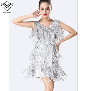 Wechery Latin Flamenco Salsa Dancing Dress Tassels Sequins Midi Dresses Performance Costume Dance Wear
