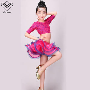 Latin Tutu Skirt Dancing Tops Two Piece Set Performance Stage Lace Floral Flamengo Samba Dancing Clothing