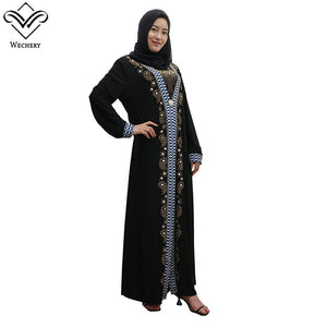Dress Muslim Style Sequins Islamic Traditional Costume Black Beading Abaya Moroccan Robe Dubai