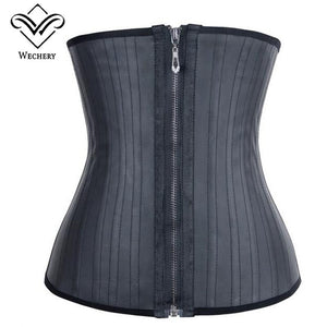 Modeling Strap Corset Latex Waist Trainer With Zipper Belly Slimming Sheath Belt Waist Cincher 25 Steel Boned Shaper